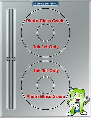 100 PHOTO GLOSSY Ink Jet Labels! Fits Size 5931 - 50 Sheets! CD DVD High Gloss