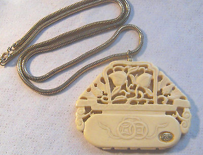 """Rare Vintage KENNETH LANE Cream Colored Lucite Asian Pendant On 25"""" Snake Chain"""