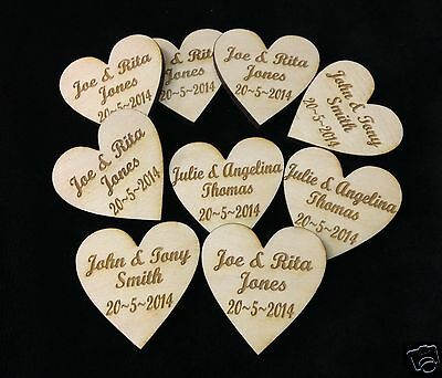 Personalised Wooden Hearts Table Decorations Wedding Party Favours