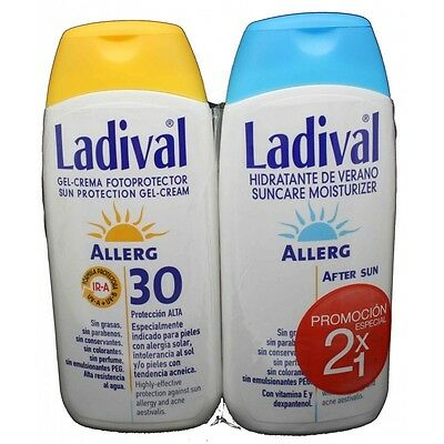 Fotoprotector Ladival Allerg Gel Crema FPS 30 Promoción 2x1 After Sun De Regalo
