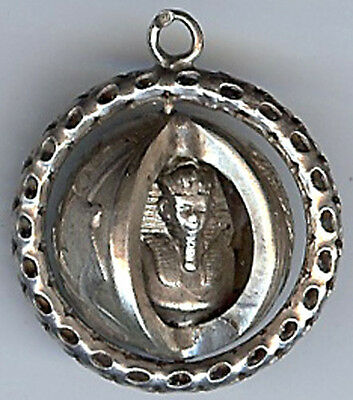 Unique Vintage Egyptian Sterling Silver 3D King Tut Spinning Large Charm Pendant