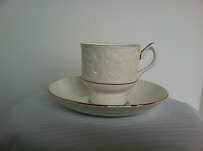 Fine Bone China Crown Staffordshire England R Cup & Saucer White w/ Gold Detail