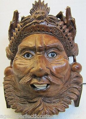 old Carved Asian Wood Mask Man Devil Dogs Exquisite Detailing Eyes Teeth -msk1e