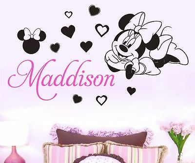 Minnie Mouse Custom Name Wall Sticker Removable  *3 Designs* 2 Colours Disney