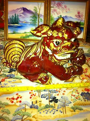 Cute Ceramic Vintage Chinese Foo Lion Drip Pottery Style