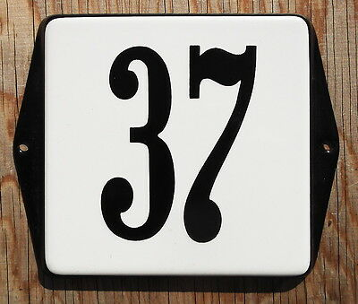 CLASSIC ENAMEL HOUSE NUMBER SIGN. BLACK NUMBER 37 ON A WHITE BACKGROUND, 12x12cm