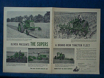 1954  2 Pg Ad - Oliver 77  Tractor & Oliver 88 Tractor ~ Shows Five Diff Uses