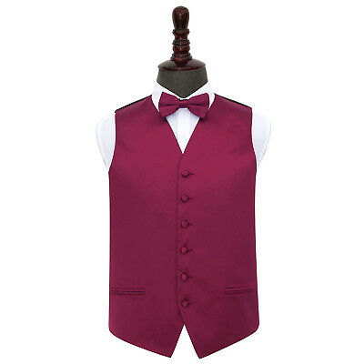 New Dqt Plain Mens Wedding Waistcoat & Bow Tie Set - Burgundy