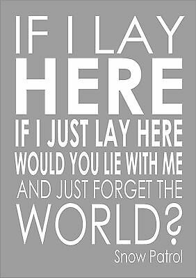 SNOW PATROL 'CHASING Cars' Personalised Framed Song Lyrics