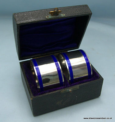 Pair of Sterling Silver with Guilloche Enamel Napkin Rings, Chester 1912