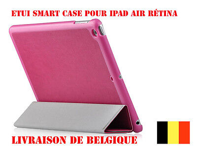 Pink  iPad Air Case Etui Coque En Cuir Housse Case Cover Magenta + film