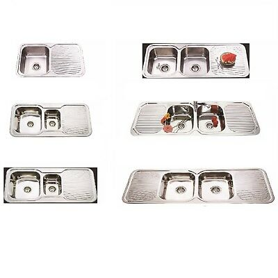 Ais 304 Grade Full Stainless Steel Kitchen Sink with Clips and Basket Wastes