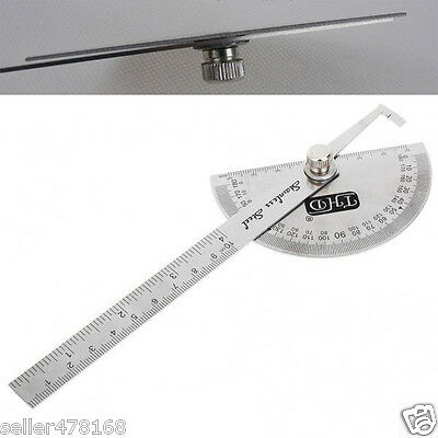 1PCS Stainless Steel 0-180 degrees with Round Head Protractor 0-10CM ruler TOOL
