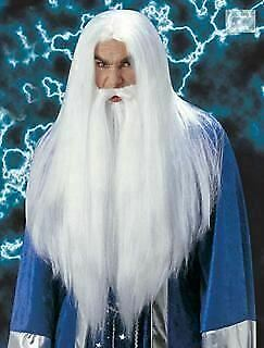 Wizard Gandelf the white Long Wig & Beard Fancy Dress Halloween Fun