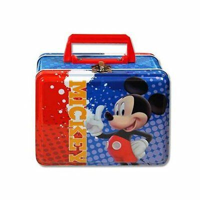 Lunch Box - Disney - Mickey Mouse - Metal Tin Case w/ Plastic Handle & Clasp