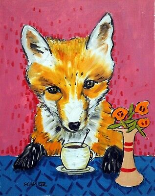 fox at the coffee shop animal wall art decor 13x19 GLOSSY PRINT JSCHMETZ
