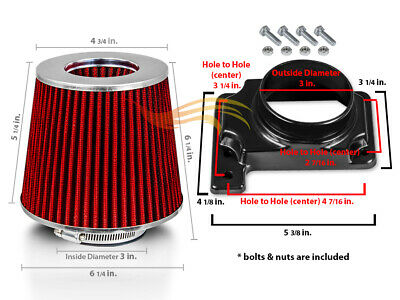 RED Filter For 01-05 Stratus 2.4 L4 Coupe Mass Air Flow Sensor Intake Adapter