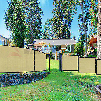 6'x50' Tan / Beige Fence Privacy Screen Windscreen Mesh Fabric Cover Slat Canopy