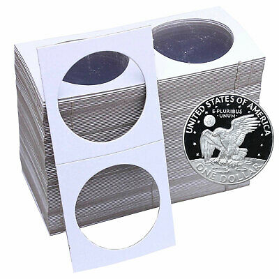 100 Silver Dollar Size 2X2 Cardboard Staple Type Coin Flips Safe for Coins