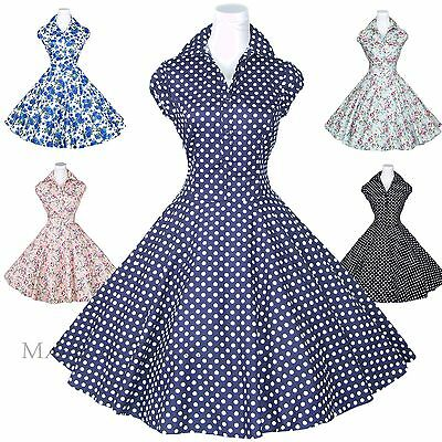 ed6353bfd494 Maggie Tang 50s Polka Dot Rockabilly Housewife Pinup Retro VTG Swing Dress  S-512