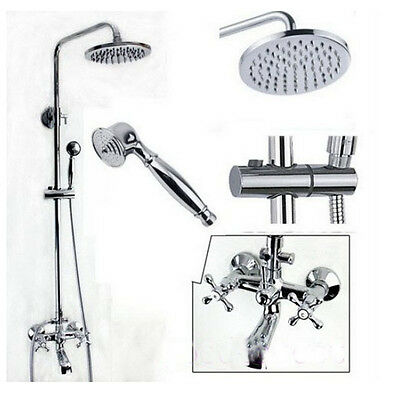 Polished Chrome Exposed Rain Shower Faucet Bathtub Sink Mixer Tap Hand Shower