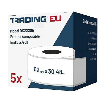 5x Label kompat. zu Brother DK22205 62 mm x 30,48 m endlos