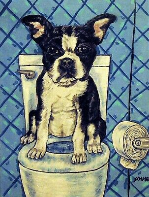 BOSTON TERRIER dog in the bathroom wall art dog art print from painting  11x14