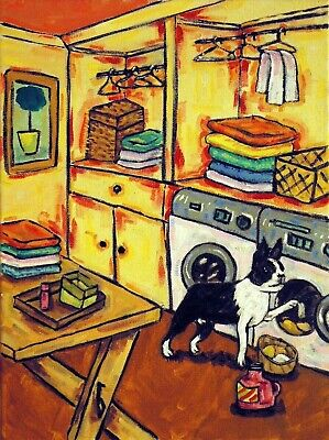 BOSTON TERRIER dog art laundry room 8x10 signed PRINT impressionism animals