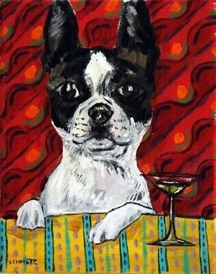 BOSTON TERRIER at the martini bar signed dog art print 8x10