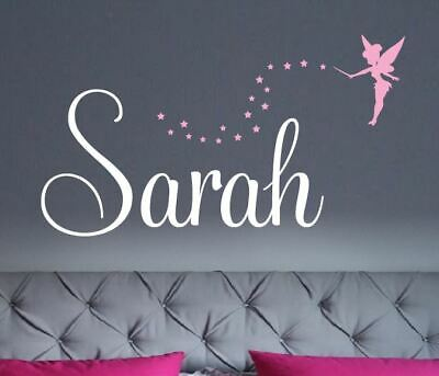 Custom Name Wall Sticker with Tinkerbell or Butterflies  -2 colours Personalised
