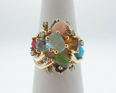 Natural Multi Gemstones Diamonds Solid 14k Yellow Gold Cocktail Ring FREE Sizing