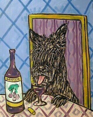 SCOTTISH TERRIER wine art dog  from  painting  13x19 Scotty dog GLOSSY PRINT