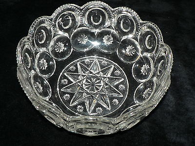 Antique Vintage Clear Glass Large Bowl Beautifully Etched Pattern