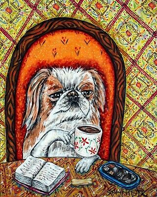 JAPANESE CHIN at the coffee shop cafe signed dog art print gift gifts 13x19