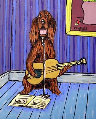 Irish setter playing guitar music room signed dog art print 13x19 glossy paper