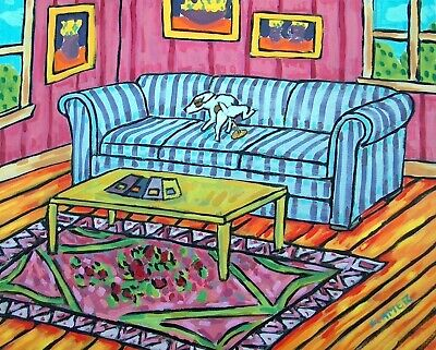 Jack Russell terrier dog peeing couch 13x19 art   GLOSSY PRINT