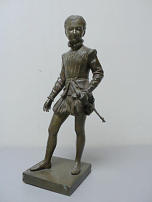 GORGEOUS 19th C. ANTIQUE FRENCH PATINATED BRONZE SCULPTURE, YOUNG MAN with SWORD