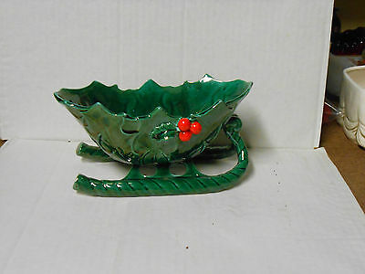 """Lefton Green Holly Berry Sleigh #1346 W/Label 8 1/4"""" EXCELLENT CONDITION"""