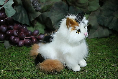 Calico Sitting Cat Kitty Adorable Furry Animal Taxidermy Figurine Decor SM