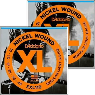2 x D'Addario EXL110 Nickel Wound Light Electric Guitar Strings 10 - 46 XL 110