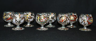 Set of 8 Hand-painted Enamel Gilt Cordial/Liquor Footed Glasses Spanish? (1233)