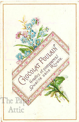 Blue Forget Me Nots & Placard Sign Antique Vintage French Chromo Trade Card