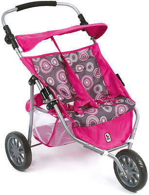Bayer Chic 2000 Zwillingspuppenjogger (Hot Pink Pearls) Zwillingspuppenwagen NEU