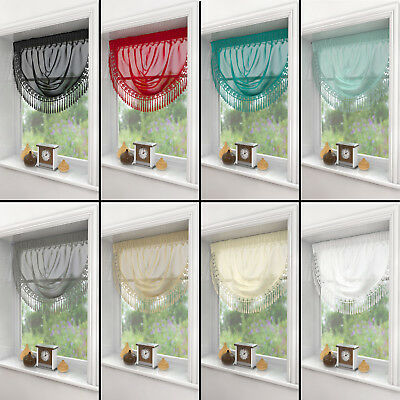 Macrame Ready Made Voile Swag Swags Net Curtain Decorative Pelmet Valance Drapes