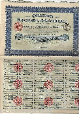 FRENCH INDUSTRIAL FONCIERE & INDUSTRIELLE ANTIQUE SIGNED STOCK CERTIFICATE 1910