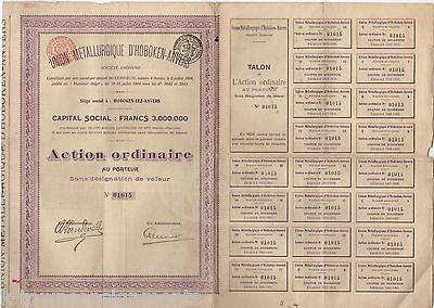 UNION METALURGIQUE D'HOBOKEN-ANVERS FRENCH MINING ANTIQUE STOCK CERTIFICATE 1904