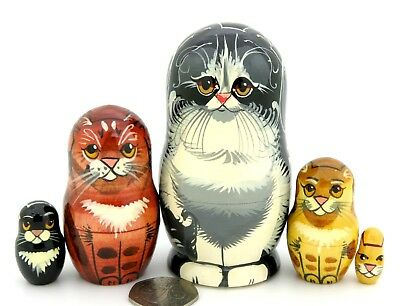Genuine Russian small STACKING Dolls 5 Black Tabby Ginger Cat Chat Kitten signed