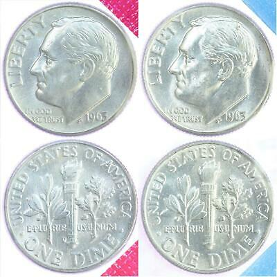 1963 P D Roosevelt Dimes BU US Mint Cello 90% Silver 2 Coin Set