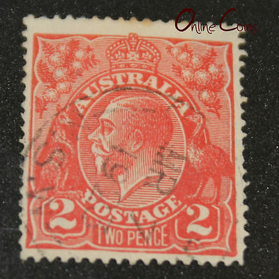 "1913-1936 King George V Two Pence Red ""Recut Right 2"" Variation - Fine Used"