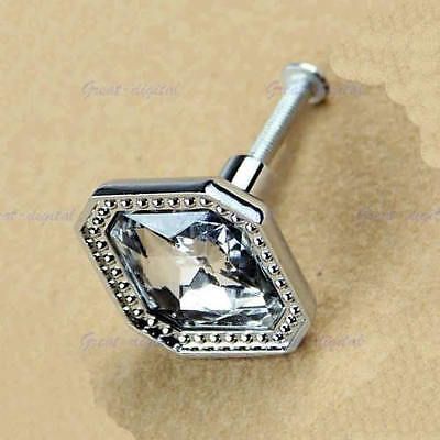 Square Crystal Glass Knob  Wardrobe Pull Handle For Door Cabinet Cupboard Drawer